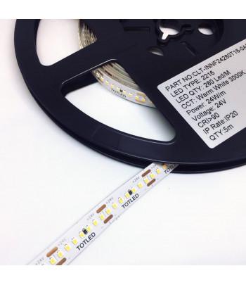 Tira LED 24V Blanca cálida 2700K IP20 5M 24W
