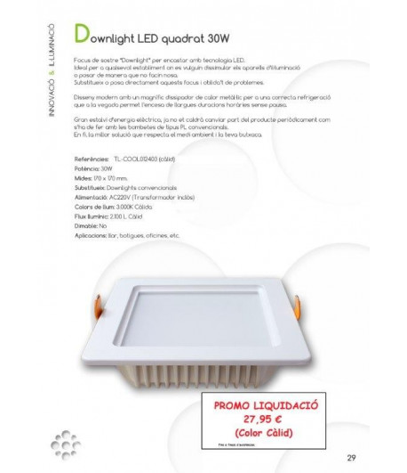 29 Downlight Quadrat 30W PROMO