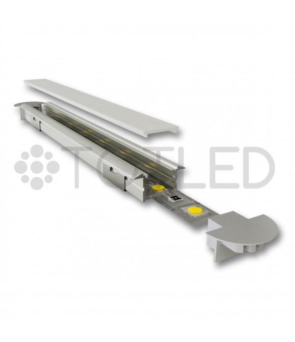 Perfil de aluminio negro encastrable LN LPB/2N