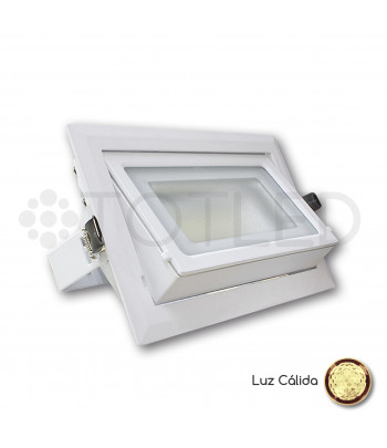 Downlight LED blanco rectangular 40W (Cálido)