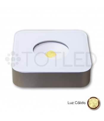 Foco LED Mini Blanco Cuadrado 3,3W Cálido