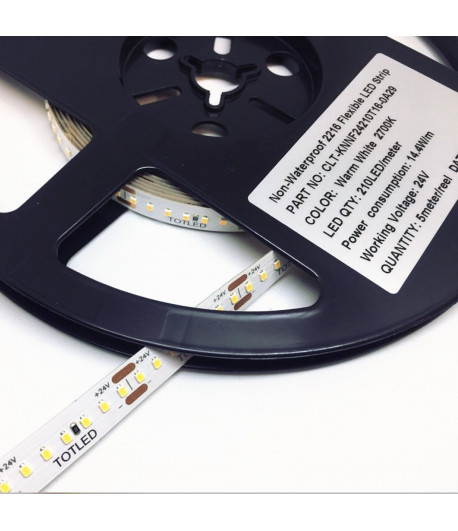 Tira LED 24V Blanca cálida 2700K IP20 5M 14,4W