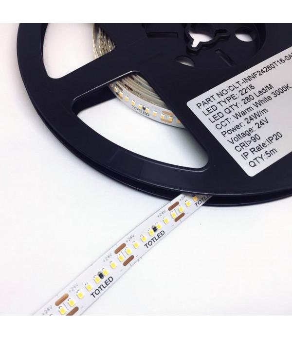 Tira LED 24V Blanca cálida 3000K IP20 5M 24W